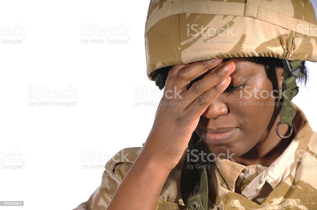 Tired Soldier royaltyfri bildbanksbilder
