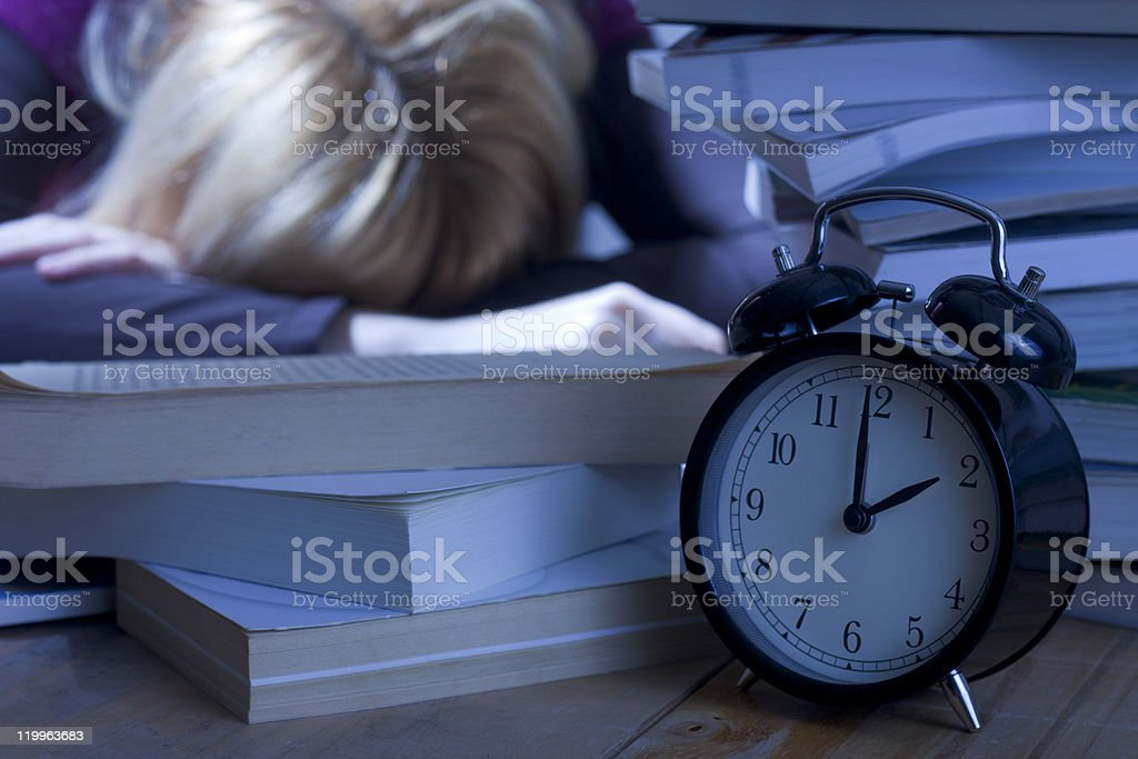 Tired Student Sleeping on Books royalty-free stock photo