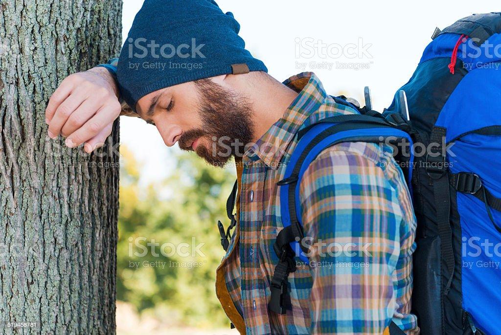 Tired traveler. stock photo