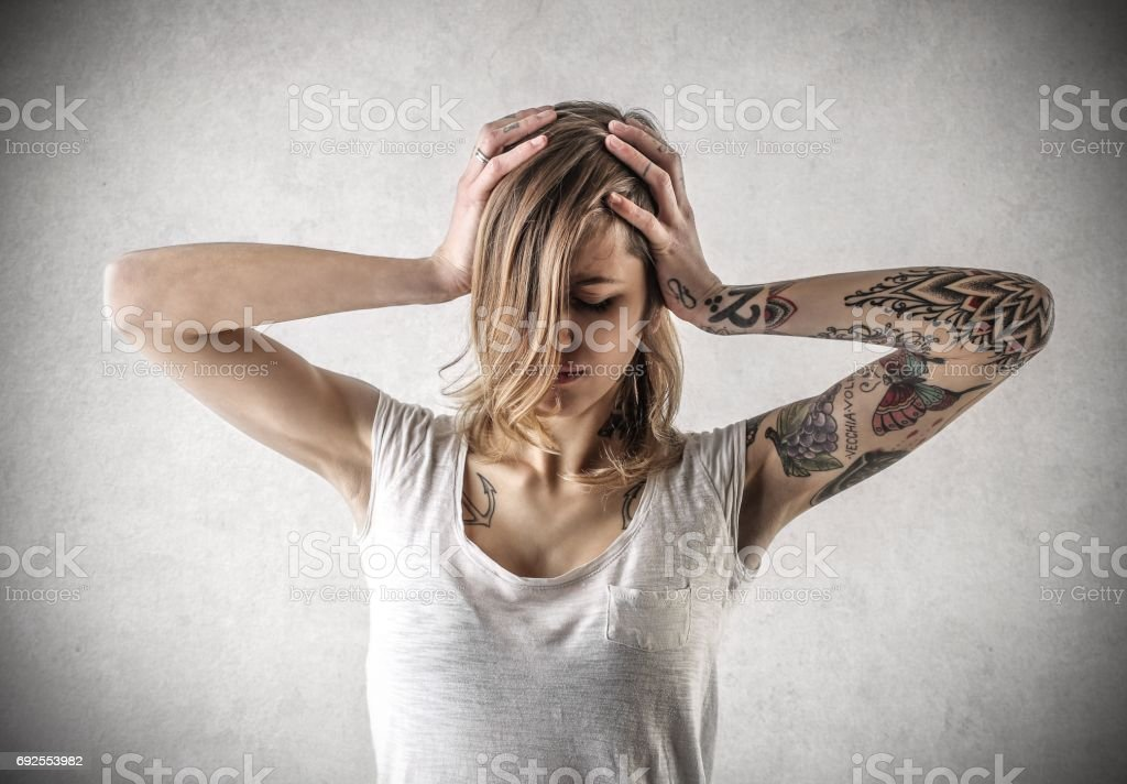 Tired woman stock photo