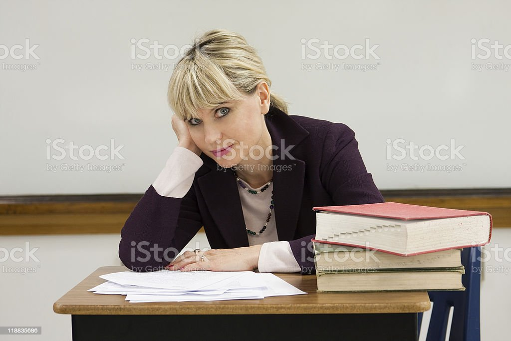 Tired Woman Teacher royalty-free stock photo