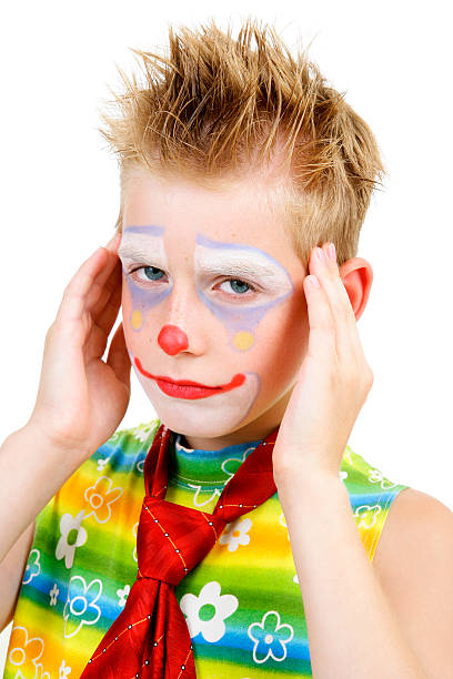 Young man in clown makeup stock image. Image of