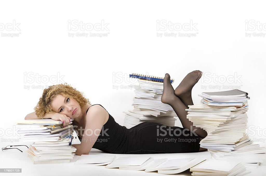 Tired young woman royalty-free stock photo
