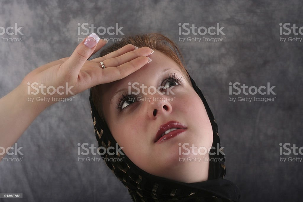 Tired young woman stock photo