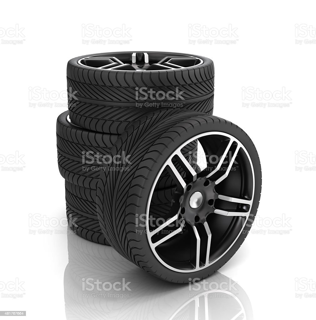 Tires and rims ,automobile wheels stock photo