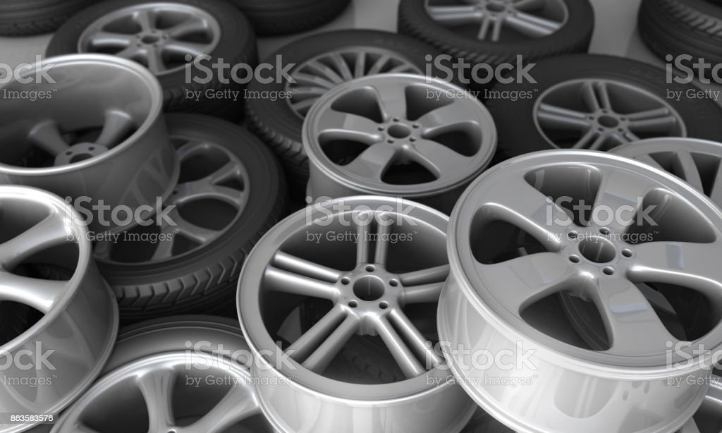 Tires and rims for car stock photo