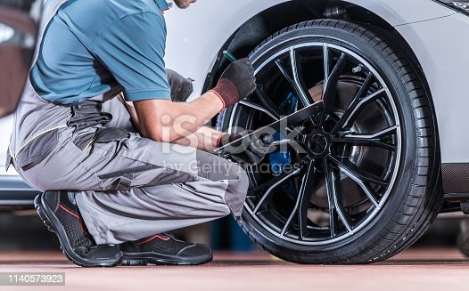 istock Tires and Wheels Inspection 1140573923