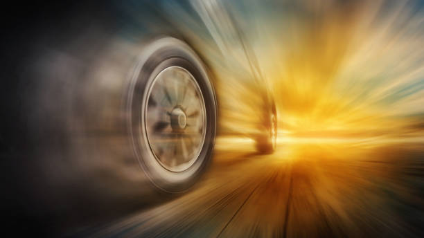 Tires is spin of speeding car stock photo