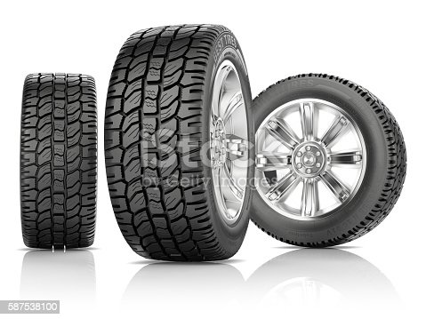 istock Tires on white background 587538100