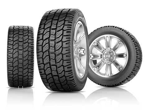 istock Tires on white background 587538100