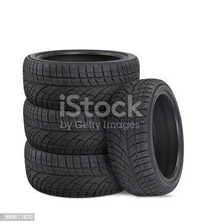 Tires stack isolated on white background