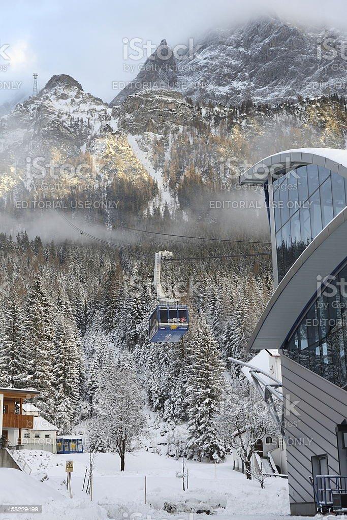 Tiroler Zugspitzbahn and Zugspitze Mountain stock photo