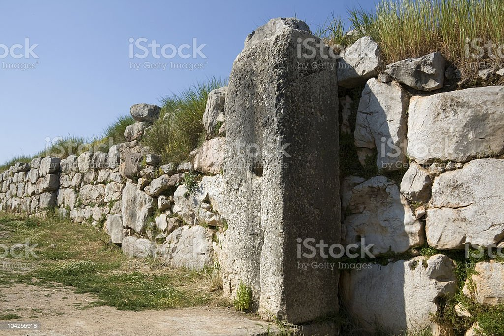 Tiryns - Great gate and passageway stock photo