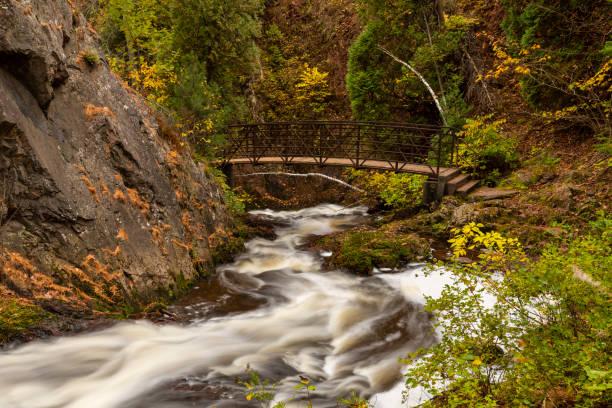 Tischer Creek Cascading Waterfall In Autumn stock photo