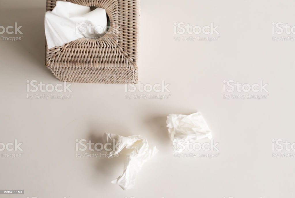 Tissue box from above stock photo