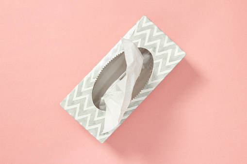 Tissue Box On Pastel Pink Background Stock Photo - Download Image Now
