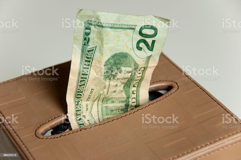 Scatola tessuto con una Banconota da venti dollari canadesi foto stock royalty-free