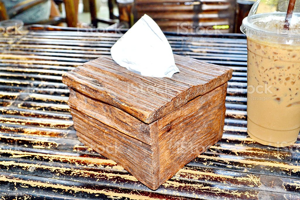 Tissue paper box made by old wood stock photo