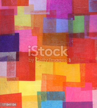 abstract artwork created from tissue paper squares