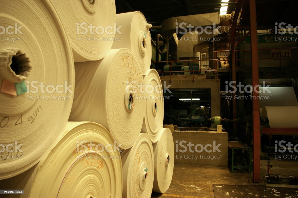 Tissue paper in the big roll store in factory stock photo