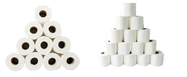 Tissue paper use in toilet. equipment of cleaning. - foto stock