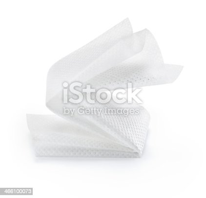 Folded paper towel against white background.