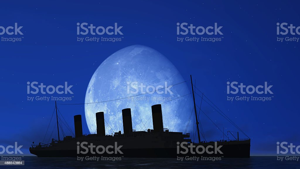 titanic and moon stock photo