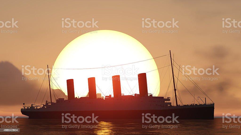 titanic and sunset stock photo