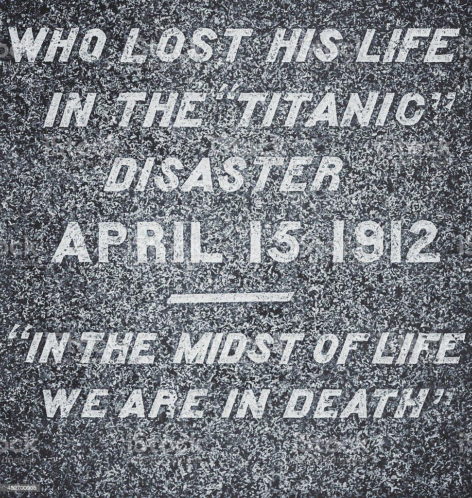 Titanic Gravestone stock photo