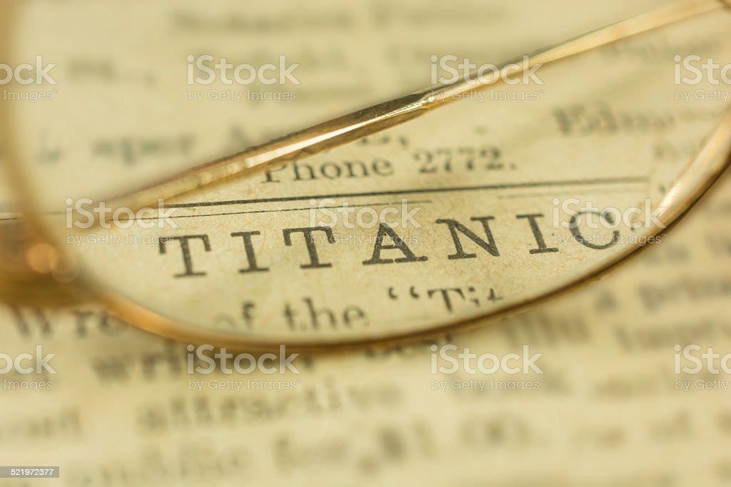Titanic Printed on 1912 Newspaper stock photo
