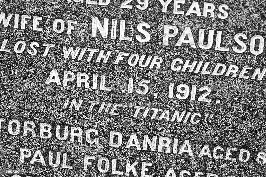 Titanic Victim Headstone stock photo