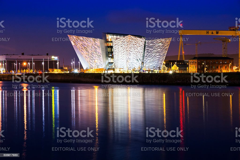 Titanic Visitors Centre - night shot stock photo