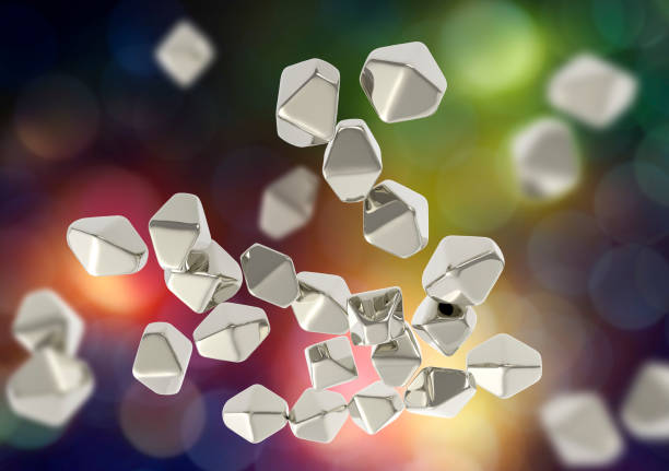Titanium dioxide TiO2 nanoparticles Titanium dioxide TiO2 nanoparticles, 3D illustration. TiO2 nanoparticles have shape of hexagonal crystals, they are used in medicine, chemistry, cosmetics, paper industry nanoparticle stock pictures, royalty-free photos & images
