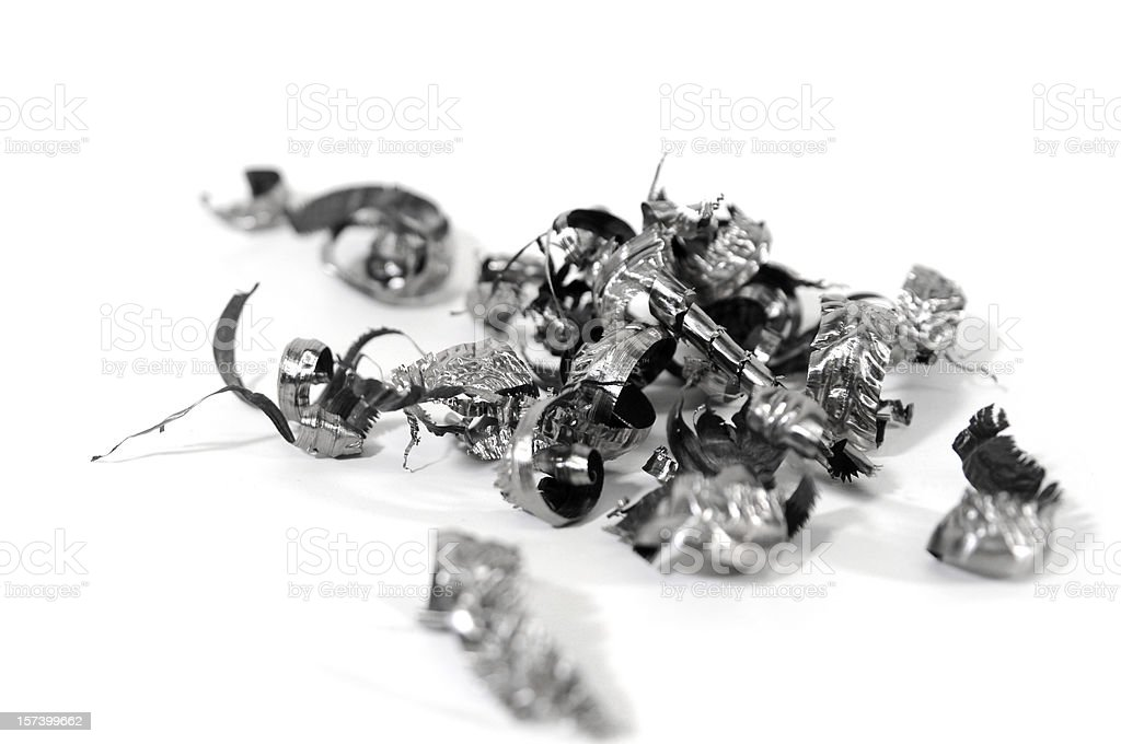 titanium metal shavings stock photo