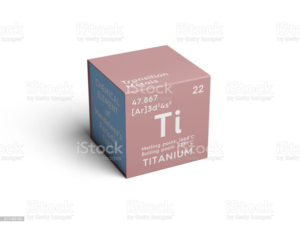 Titanium. Transition metals. Chemical Element of Mendeleev's Periodic Table. stock photo