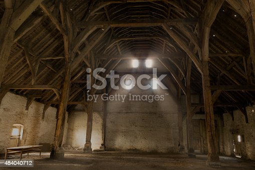 Old tithe barn in the village of Lissewege in Flanders, Belgium