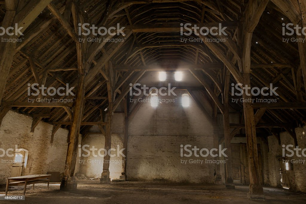 Tithe barn of medieval Flanders stock photo