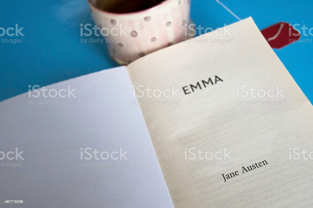 Title Page: 'Emma, Jane Austen', Cup of Tea, Blue Background stock photo