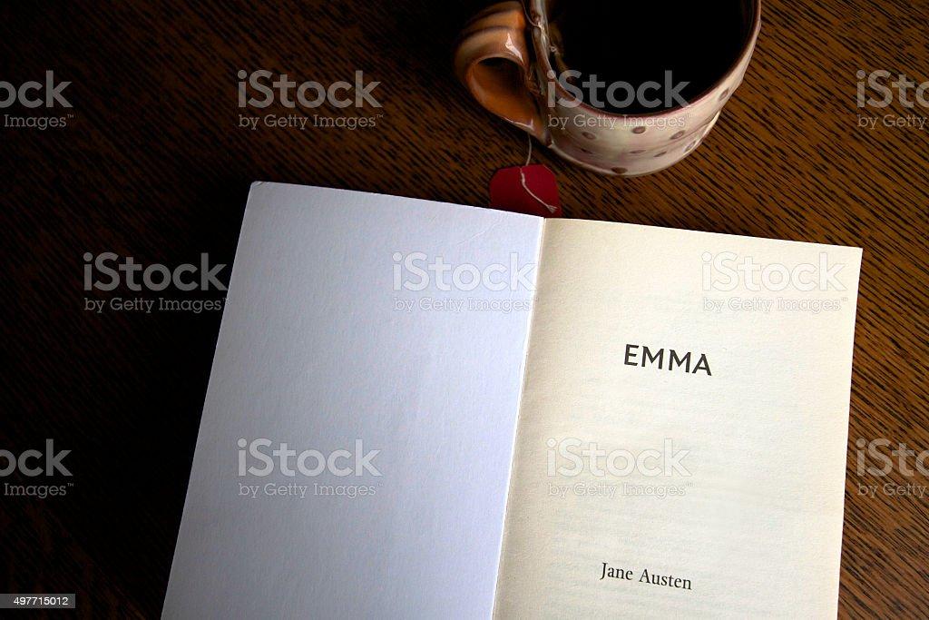 Title Page: 'Emma, Jane Austen', Cup of Tea, Dark Background stock photo