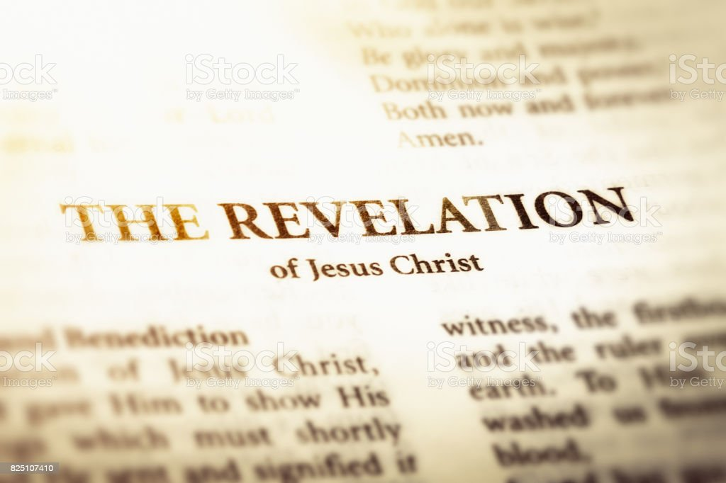 Title page of book of Revelation from the Bible stock photo