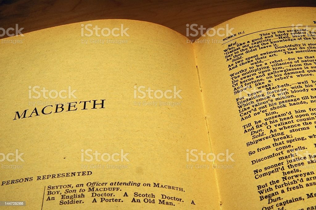 Title page of Shakespeare's Macbeth stock photo