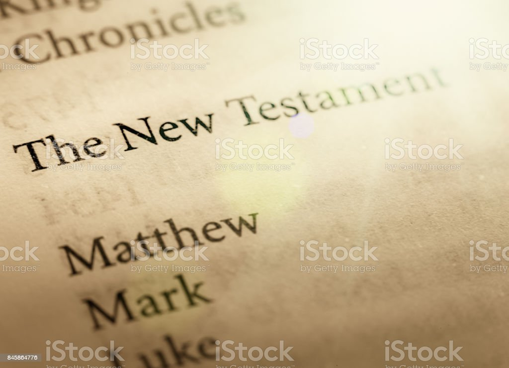 Title page of the Bible's New Testament stock photo