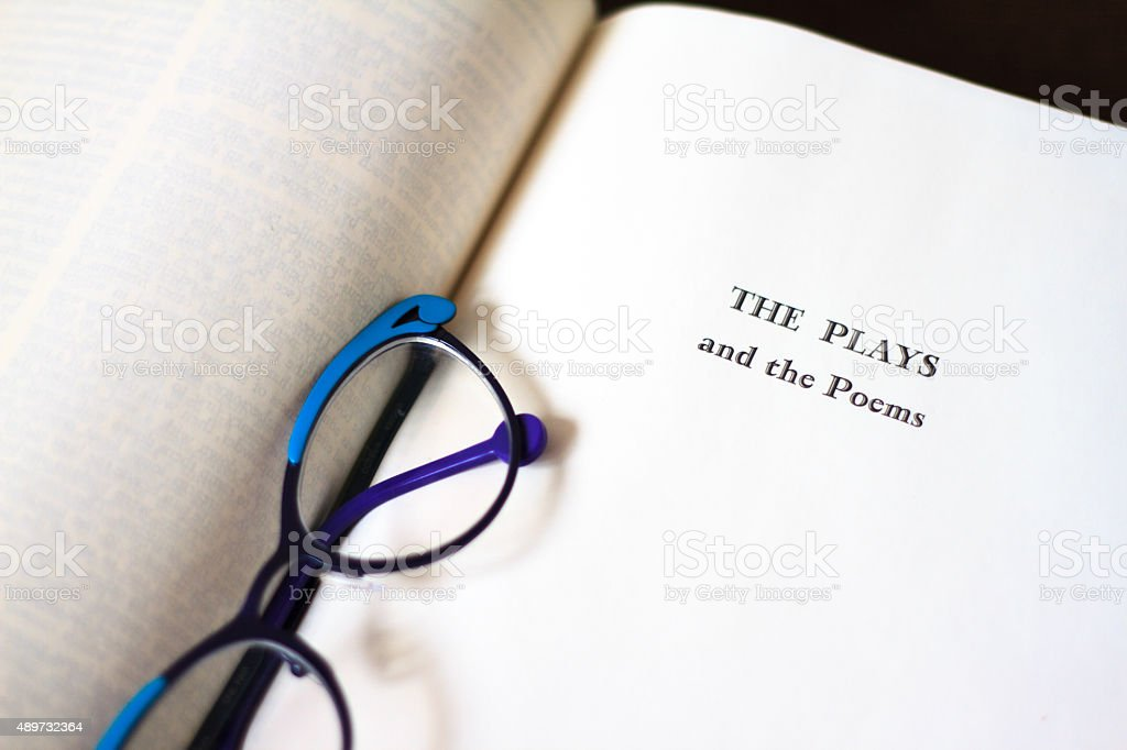 Title Page: 'Plays and Poems' (Shakespeare); Chic Glasses stock photo