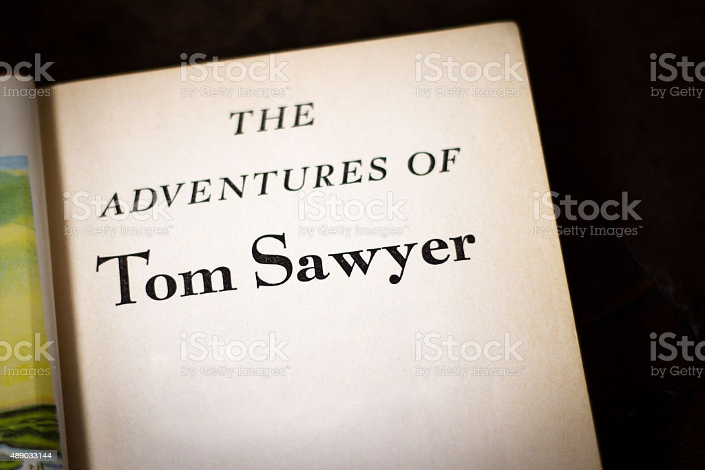 Title Page: 'The Adventures of Tom Sawyer', Black Background stock photo