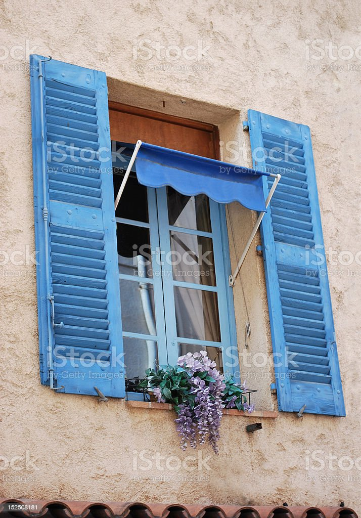 Title: Picturesque window in Provence, France royalty-free stock photo