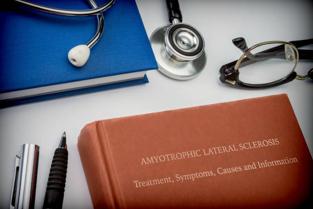 Titled book Amyotrophic Lateral Sclerosis along with medical equipment, conceptual image Titled book Amyotrophic Lateral Sclerosis along with medical equipment, Title of book invented and fictitious made in Photoshop, conceptual image als stock pictures, royalty-free photos & images