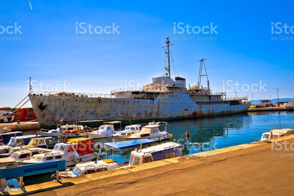 Titov Galeb ship wreck docked, former command ship of Yugoslavian army waitnig for scrap yard, Rijeka, Croatia stock photo
