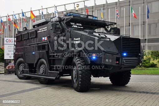 Kielce, Poland - September 6th, 2016: Warsaw, Poland, 15,th August 2015: The military wheeled armored vehicle Titus (Tactical Infantry Transport & Utility System) on the military show. This vehicle is designed and manufactured by the French Defense Company Nexter. The Titus is created for example for the special forces. This vehicle based on Tatra 6x6 chassis.