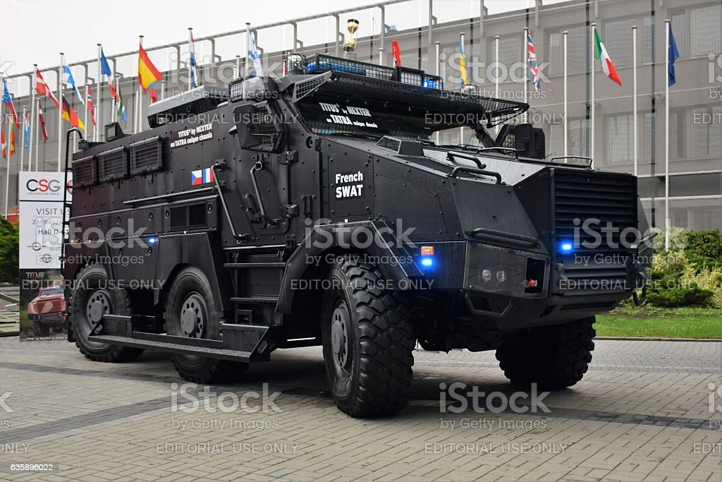 Titus wheeled armored vehicle on the exhibition stock photo