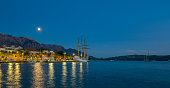 Tivat by night, Port of Montenegro, Kingdom of Dalmatia, Balkan Peninsula, Montenegro, Europe